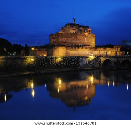 st. Angel's castle in rome reflected in the river on dawn