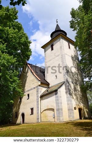 St Anna Church, a late gothic church in Libinske Sedlo in South Bohemia in Czech Republic - stock photo