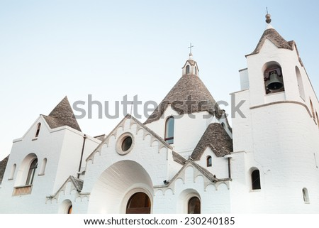 St. Anthony church. Tourist attraction of Alberobello's town in Apulia. Italy. - stock photo