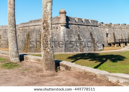 St Augustine Castle. Fortifies walls on a sunny day. - stock photo