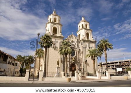 St. Augustine Cathedral in the El Presidio district of downtown Tucson, AZ. - stock photo