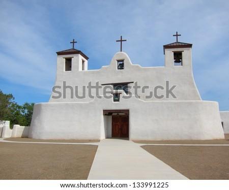 St. Augustine Church in Isleta Pueblo, New Mexico - stock photo