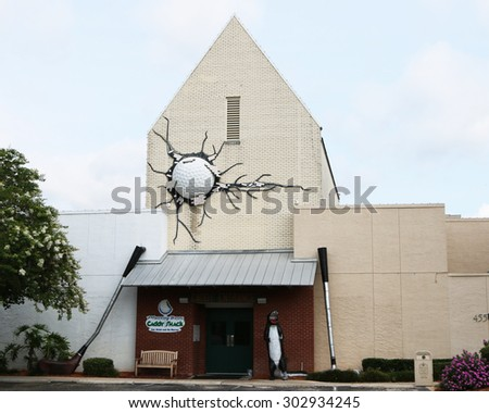 """ST. AUGUSTINE, FL-JULY, 2015:  The """"Caddy Shack"""" is owned by Bill Murray and his brothers and is a kitschy restaurant filled with memorabilia from the 1980 movie blockbuster. - stock photo"""