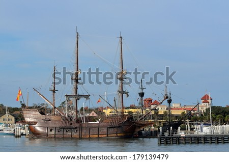ST. AUGUSTINE, FLORIDA - FEBRUARY 27: El Galeon arrived on January 5, 2014 and is moored at the St. Augustine Municipal Marina. Galleon vessels traveled on the coast of Florida at the 16th century. - stock photo