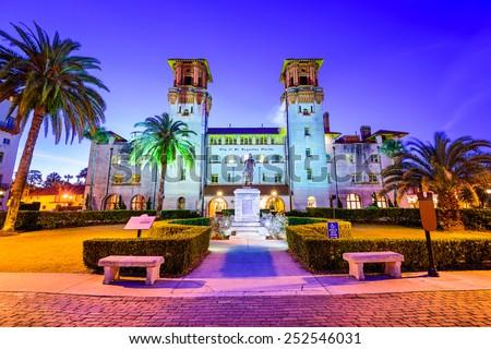 St. Augustine, Florida, USA at  City Hall and Alcazar Plaza. - stock photo