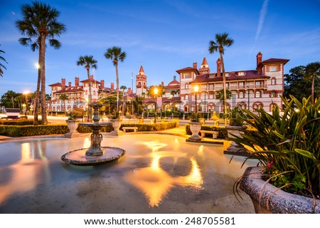 St. Augustine, Florida, USA downtown cityscape at Flagler College. - stock photo