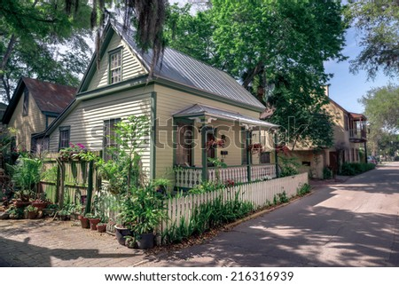 St. Augustine, Florida, USA - March 2014 - Summer Cottage in St. Augustine, Florida on a sunny day.  - stock photo