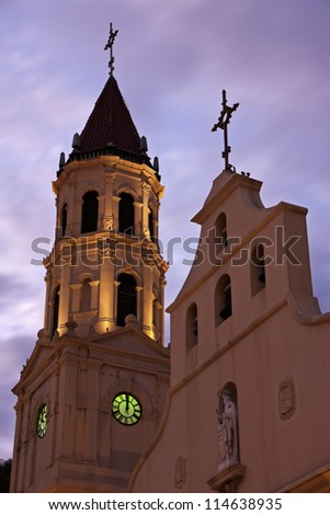 St. Augustine historic architecture - church at sunset - stock photo