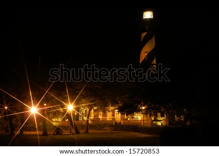 St. Augustine Lighthouse, St. Augustine, Florida, Horizontal at Night with Star Filter - stock photo
