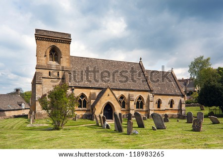 St. Barnabas Church in Snowshill, England. - stock photo