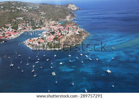 ST BARTS, FRENCH WEST INDIES - June 10, 2015:Aerial view at Gustavia Harbor in St Barts. The island is popular tourist destination during the winter holiday season