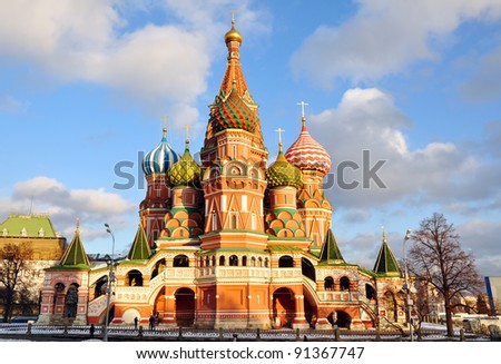 St. Basil Cathedral on Red Square in Mos?ow, Russia - stock photo