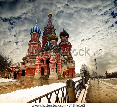 St. Basil Cathedral on Red Square in Moscow, Russian Federation - stock photo