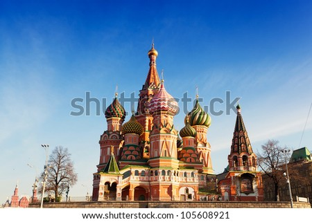 St. Basil's Cathedral in Moscow against the blue sky in a sunny day - stock photo