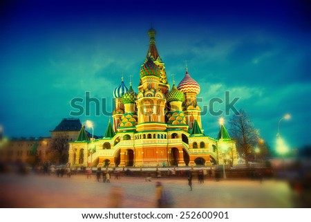 St. Basil's Cathedral in Moscow on Red Square at night - stock photo