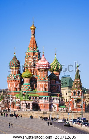 St. Basil's Cathedral in Moscow (view from Vasilevsky descent) - stock photo