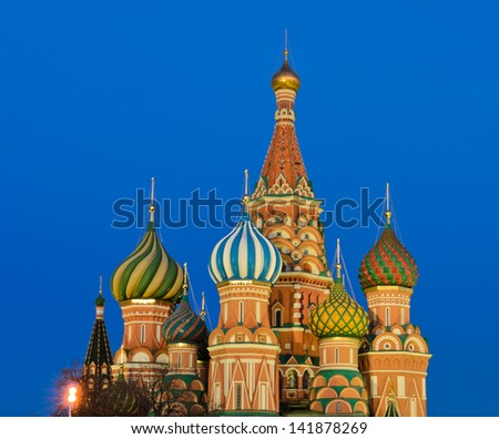 St. Basil's Cathedral in twilight, Moscow, Russia