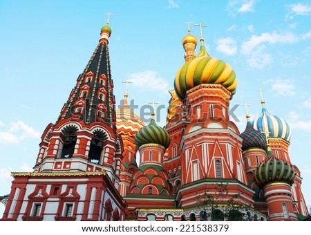 St. Basil's Cathedral on Red square in Moscow, Russia. Early morning. - stock photo