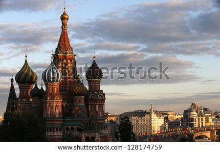 St. basil's cathedral on sunset sky - stock photo