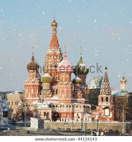 St. Basil's Cathedral, snowing - stock photo