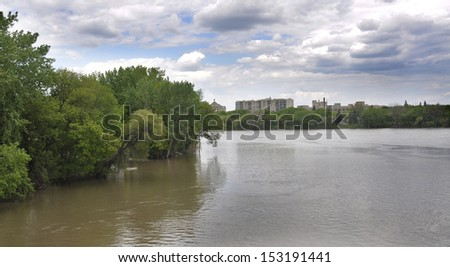 St. Boniface seen from the Red River in Winnipeg, Manitoba - stock photo