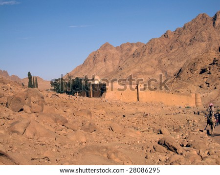 St. Catherine monastery in stone desert of Sinai peninsula, Egypt