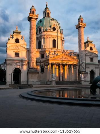 St. Charles (Karlskirche) church in Vienna, Austria - stock photo