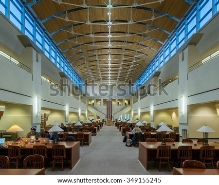 ST. CLOUD, MINNESOTA - NOVEMBER 20: Reading room of the St. Cloud State University library on the campus of St. Cloud State University on November 20, 2015 in St. Cloud, Minnesota - stock photo
