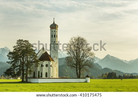 St. Coloman Church in Southern Germany in spring time
