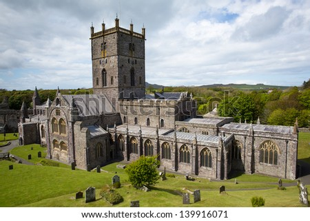 St Davids Cathedral in St Davids City Pembrokeshire, Wales  dates back to the 12th century although since the 6th century there has been a church on this site - stock photo