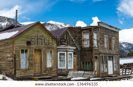 St. Elmo ghost town in the Colorado Rocky Mountains - stock photo