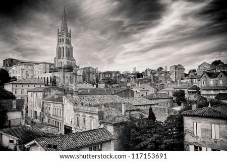 St Emilion village in Bordeaux region, monochrome vintage view - stock photo