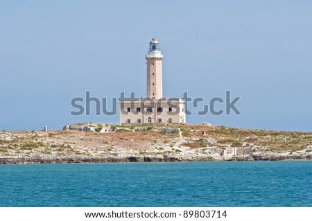 St. Eufemia Lighthouse. Vieste. Puglia. Italy. - stock photo