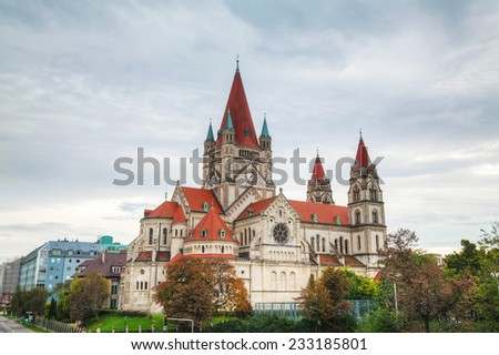 St. Francis of Assisi Church in Vienna, Austria ona cloudy day - stock photo