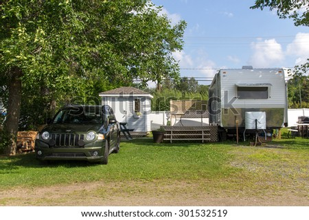 St-Gabriel-de-Brandon, Canada - July 30, 2015: Mobile home on St-Gabriel-de-Brandon camping at summer