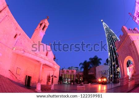 St. Gabriel's Church at christmas celebrations - stock photo