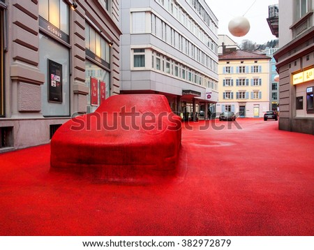 ST GALLEN, SWITZERLAND - DEC 31, 2015: City Lounge in St. Gallen, Switzerland. It is an outdoor space in the center of St. Gallens designed by Carlos Martinez in collaboration with Pipilotti Rist. - stock photo