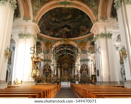 St. Gallen, Switzerland - November 30, 2016: Abbey of St. Gall. The monastery was founded in 612 as a hermitage and took the name from St. Gallen, an Irish monaco.