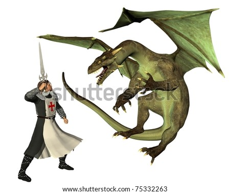 St. George and the Dragon, (the Patron Saint of England, St. George's Day is April 23rd), 3d digitally rendered illustration - stock photo