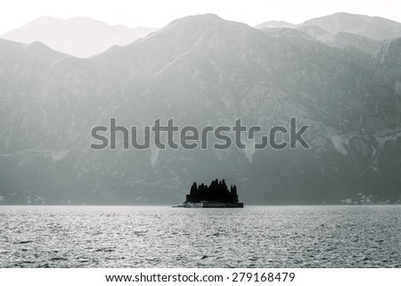 St.George island in Boka Kotorska.Montenegro. - stock photo