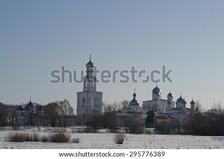 St. George monastery of the 12th century. Veliky Novgorod, Russia - stock photo