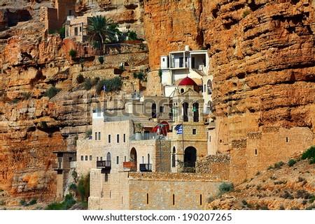 St. George Orthodox Monastery  in Wadi Qelt.Israel - stock photo