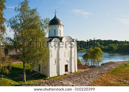 St. George's Church in the Staraya Ladoga Fortress, on left bank of Volkhov River - stock photo