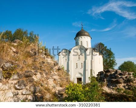 St. George's Church in the Staraya Ladoga Fortress, Russia - stock photo
