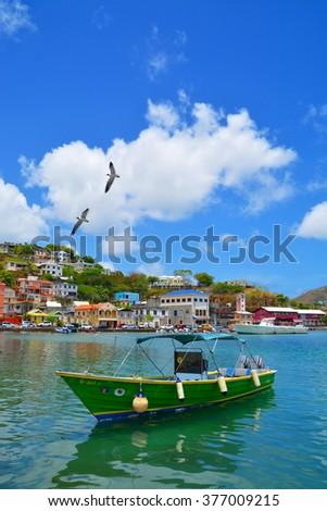 ST. GEORGE`S, GRENADA - JUNE 08: scenery at fishing harbour June 08, 2015 in St. Georges, Grenada - stock photo