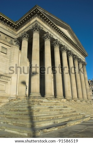 St George's Hall Liverpool with detail of stone columns and steps