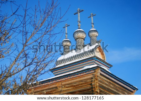 St. George the Victorious wooden church in Kolomenskoye, Moscow, Russia, in winter.