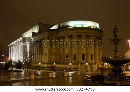 St Georges Hall in Liverpool uk lit up at night.