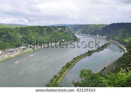 St. Goarshausen and Castle Katze at Rhine Valley in Germany - stock photo