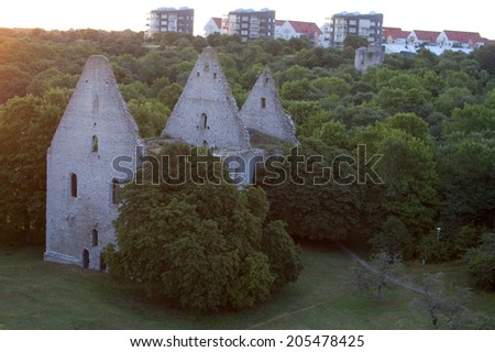 St Goran ruin in the city of visby in Sweden - stock photo